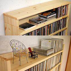 天板ユニットを組み込んだ本棚と付けない本棚